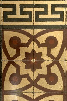 detail of vintage decorated graniglia tiles,  shot at Mediterranean little town of Chiavari,  Genova,  Liguria,  Italy.