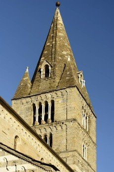 detail of mullions of windows on bell tower of historical Romanesque Fieschi church near the touristic village of Lavagna,  Tigullio,  Liguria,  Italy.