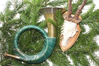 hunting horn and an antler