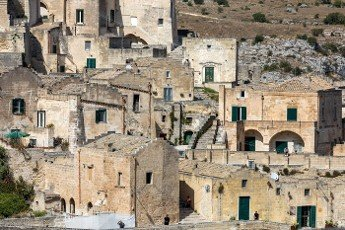 Matera,  Italy - September 15,  2019: View of the Sassi di Matera a historic district in the city of Matera,  well-known for their ancient cave dwellings. Basilicata. Italy