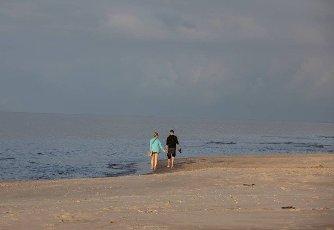 Stegna,  Poland - September 4,  2020: Romantic walk of a couple in love on the beach in Stegna,  Pomerania. Poland