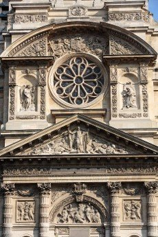 Church of Saint-Etienne-du-Mont in Paris near Pantheon. It contains shrine of St. Genevieve - patron saint of Paris