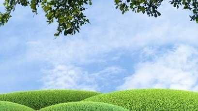 The 3d rendering of Ecology concept. Border made from green grass and leaves against blue sky