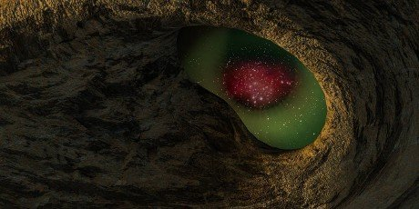 The 3d rendering of Holed stone beside the beach