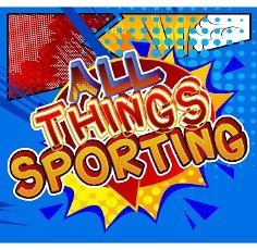 All Things Sporting - Comic book style text. Sport,  training and fitness related words,  quote on colorful background. Poster,  banner,  template. Cartoon vector illustration.
