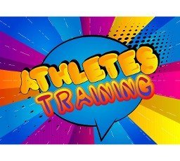 Athletes Training - Comic book style text. Sport,  training and fitness related words,  quote on colorful background. Poster,  banner,  template. Cartoon vector illustration.