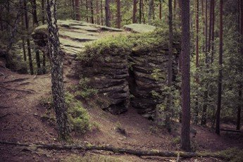 rock formation made from sandstones inside of a forest during summer season in pikelko nature reserve in Poland