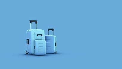 travel bags on blue background,  concept of summer and holiday (3d render)