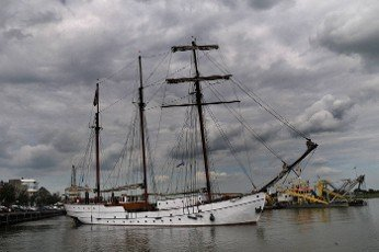 sailing ship in the port of Kampen in the Netherlands