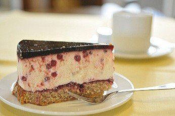 coffe cover with fruit cream cake
