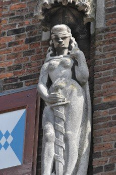 Lady Justice on teh town hall of Kampen in the Netherlands