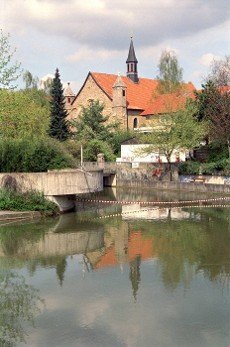 pond and water refelction in Hildesheim in Lower Saxony