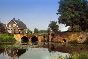 city wall moad and bridge in Elburg in the Netherlands
