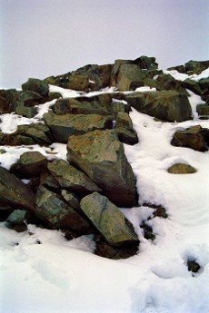 stones in the snow in the Harz mountains near Oderbrück in Lower Saxony
