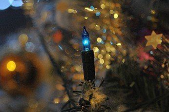 electric candle on a christmas tree