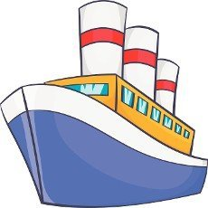 Ship icon in cartoon style on a white background