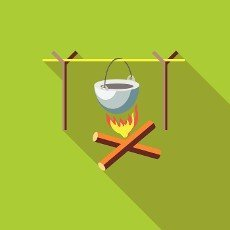 Campfire with cauldron icon in flat style with long shadow. Cooking symbol
