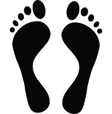 Black footprint icon in simple style on a white background