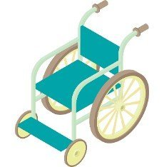 Wheelchair icon in cartoon style on a white background