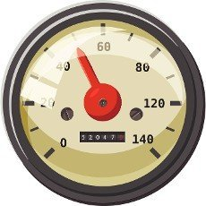 Speedometer with red arrow icon in cartoon style isolated on white background. Speed measurement symbol