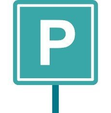 Parking sign icon in flat style isolated on white background. Place symbol