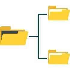 File system on computer icon in flat style isolated on white background. Copying symbol