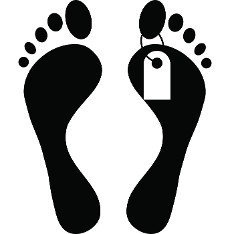 Human feet with toe tag icon in simple style on a white background
