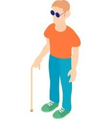 Blind man with a cane icon in cartoon style on a white background