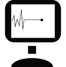 Pulse graph on monitor icon in simple style on a white background