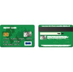 Green credit card,  two sides in realistic style on a white background