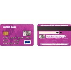 Violet credit card,  two sides in realistic style on a white background
