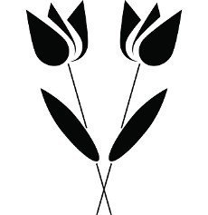 Two flowers icon in simple style on a white background