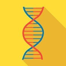 DNA icon in flat style with long shadow. Macromolecule symbol