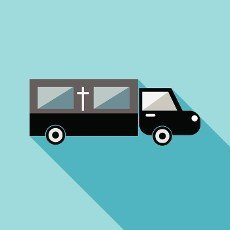 Hearse icon in flat style with long shadow. Transport symbol