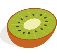 Half of kiwi fruit icon in isometric 3d style on a white background
