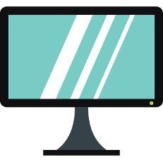 Computer monitor icon in flat style isolated on white background. Equipment symbol