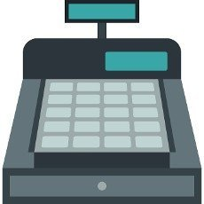 Shopping cash register icon in flat style isolated on white background