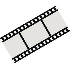Film strip icon in flat style on a white background