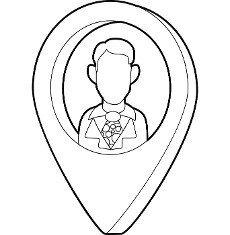 Map pointer with businessman icon in outline style on a white background
