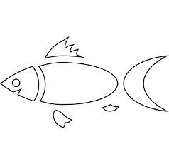 Fish icon in outline style isolated on white background
