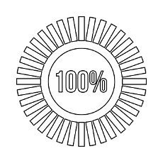 Sign 100 download icon in outline style isolated on white background. Loading symbol