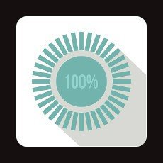 Loading circle, 100 percent icon in flat style on a white background