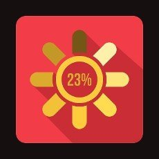 Circle loading,  23 percent icon in flat style on a crimson background