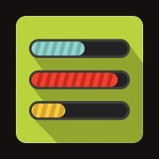 Progress loading bars icon in flat style on a green background