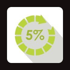 Circle loading,  5 percent icon in flat style on a white background