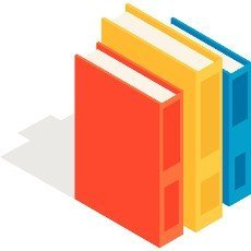 Vertical stack of colorful books icon in isometric 3d style on a white background