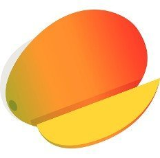 Mango fruit icon in isometric 3d style on a white background