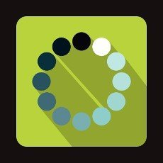 Loading circle icon in flat style on a green background