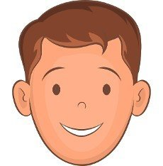 Male face with haircut icon in cartoon style isolated on white background. Hairstyle symbol