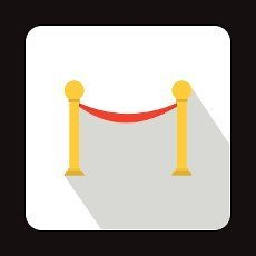 Barrier rope icon in flat style on a white background